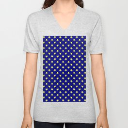 Electric Yellow on Navy Blue Stars Unisex V-Neck