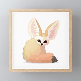 cute fennec foxes. Vector graphic character Framed Mini Art Print