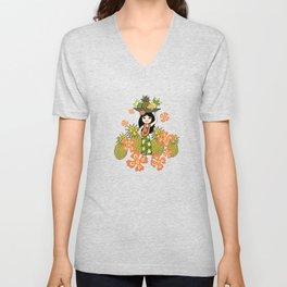 Pineapple Camo and Pineapple Luau Hawaiian Hula Girl Prints Unisex V-Neck