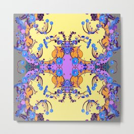 Blue Gold Color Fantasy Scrolls & Flowers Ferns Art Pattern Metal Print