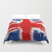 british flag Duvet Covers featuring BRITISH FLAG by Sophie