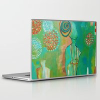 "flora bowley Laptop & iPad Skins featuring ""Wish Believe"" Original Painting by Flora Bowley by Flora Bowley"