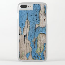 Blue Weathered Wood Clear iPhone Case