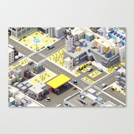 Low Poly City Canvas Print
