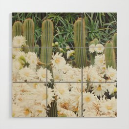 Cactus and Flowers Wood Wall Art