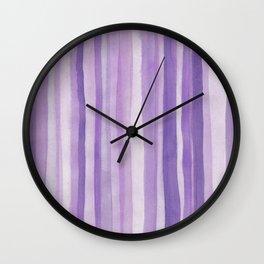 Purple Stripes Vertical 1 Wall Clock
