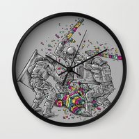 police Wall Clocks featuring Police Brutality by Peter Kramar