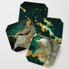 Abstract Pour Painting Liquid Marble Abstract Dark Green Painting Gold Accent Agate Stone Layers Coaster