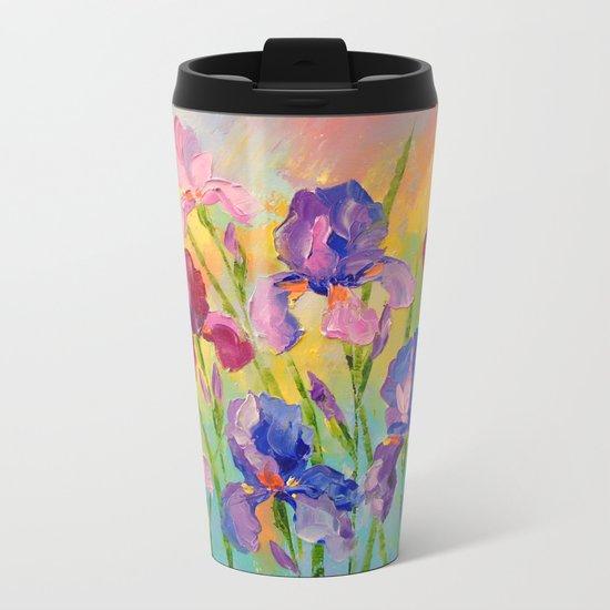 Irises Metal Travel Mug