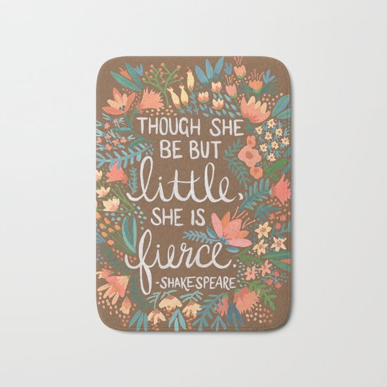 Little & Fierce on Kraft Bath Mat