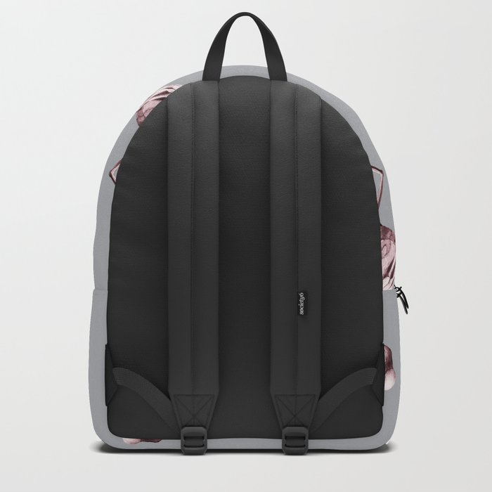 Simply Flamingo on Concrete Gray Backpack