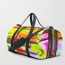 yellow classic taxi car with colorful painting abstract in pink orange green Duffle Bag
