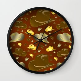 brown, golden pattern of little cowboy hats Wall Clock