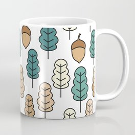 cute pattern illustration with acorns and autumn oak leaves Coffee Mug