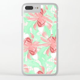Candy Stripe Pink Blush Floral Clear iPhone Case