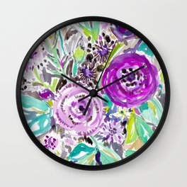 PURPLE HAZE Rose Floral Wall Clock