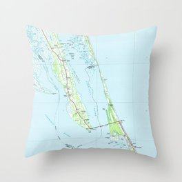 Northern Outer Banks North Carolina Map (1985) Throw Pillow