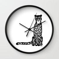 cheetah Wall Clocks featuring Cheetah by Helena's universe