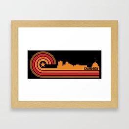 Retro Champaign Illinois Skyline Framed Art Print