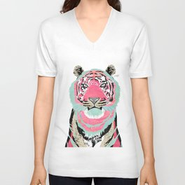 Pink Tiger Collage Unisex V-Neck