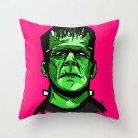 frankenstein Throw Pillows featuring Frankenstein  by Bleachydrew