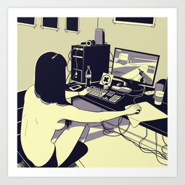 Gamer girl Art Print