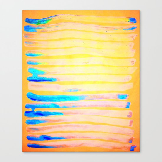 Orange Pantone Ocean Blue Lines Canvas Print