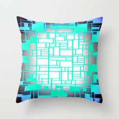 Periwinkle Aqua Gray Geometric Throw Pillow