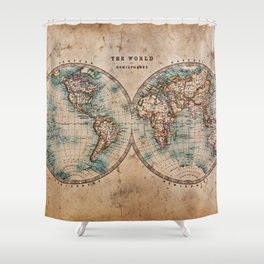 Vintage Map of the World 1800 Shower Curtain