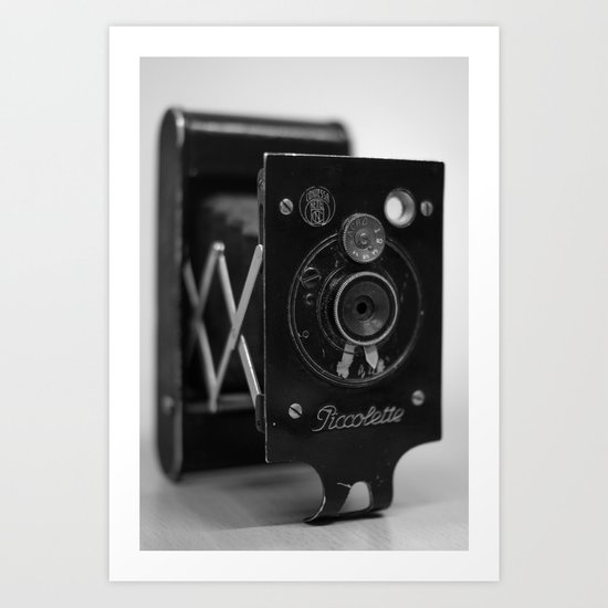 Black and white Vintage camera Art Print