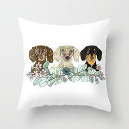 Triple Dachshunds Floral Throw Pillow