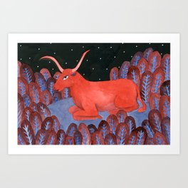 Taurus - Zodiac illustration astrology series Art Print