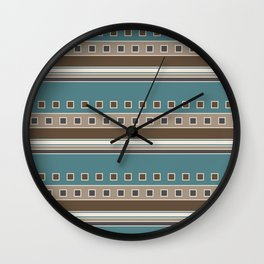 Squares and Stripes in Brown and Teal Wall Clock