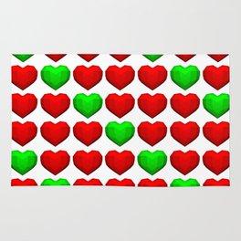Lowpoly Christmas Hearts Rug
