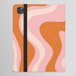 Liquid Swirl Retro Abstract Pattern in Pink Orange Cream iPad Folio Case