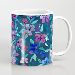 Southern Summer Floral - navy + colors Coffee Mug
