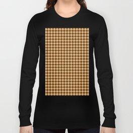 Tan Brown and Chocolate Brown Diamonds Long Sleeve T-shirt
