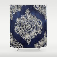 spring Shower Curtains featuring Cream Floral Moroccan Pattern on Deep Indigo Ink by micklyn