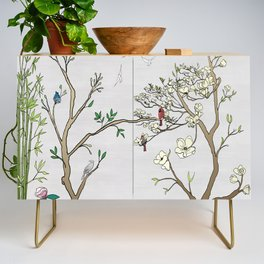 Chinoiserie Panels 1-2 Silver Gray Raw Silk - Casart Scenoiserie Collection Credenza