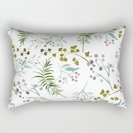 Pink forest green pastel watercolor berries floral Rectangular Pillow