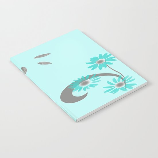 Floral Scroll Design - Turquoise Notebook