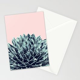 Blush Navy Blue Agave Chic #1 #succulent #decor #art #society6 Stationery Cards