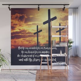 With His Stripes We are Healed KJV Verse Wall Mural