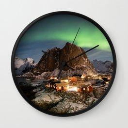 Northern Lights Over Hamnøy Wall Clock