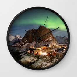 Northern Lights Over Hamnøy Wall Clock