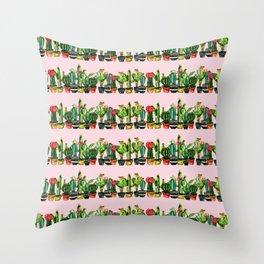 cactus stripes pink Throw Pillow