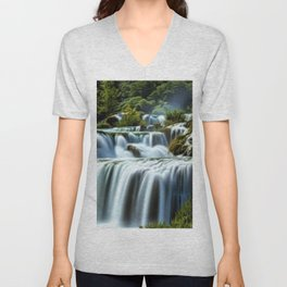 Krka Waterfall Landscape No. 2, Croatia Unisex V-Neck