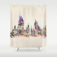 school Shower Curtains featuring hogwarts school of magic by bri.buckley