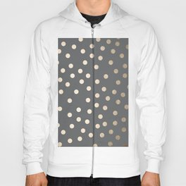 Simply Dots White Gold Sands on Storm Gray Hoody