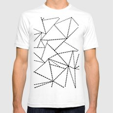 Abstract Dotted Lines Black and White White SMALL Mens Fitted Tee